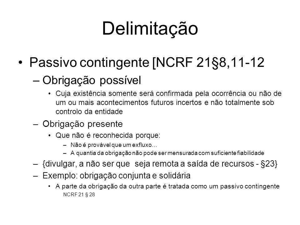 Delimitação Passivo contingente [NCRF 21§8,11-12 Obrigação possível